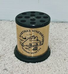 Rare Truly Vintage Marthaand039s Vineyard Metal Pencil Holder W Map Ship Fish Whale