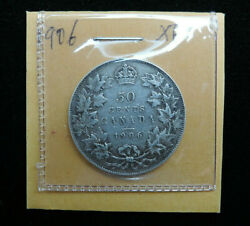 1906 50¢ Cents Coin Canada King Edward Vii Fifty Cents .925 Silver Ef Grade