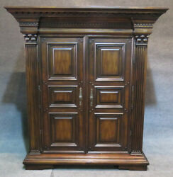 Antique Looking Tv Entertainment Cabinet English Armoire Butterfly Hinges C1990