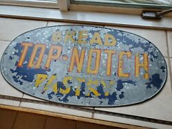 Vintage Galvanized Sign Antique Advertising Top Notch Bread Bakery 20's Store Ge