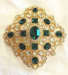Stunning Vintage Joan Rivers Emerald Green And Clear Crystal Pin Brooch
