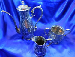 Whiting Sterling Silver Tea Set Pot, Sugar, Creamer - Very Good Condition M2