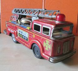 Vintage Fd Fire Dept Truck Tin Toy Long 12 2/5 Or 31.5cm Made In Japan