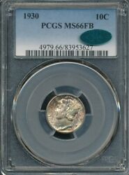 1930 Mercury Dime Pcgs Ms 66 Fb / Cac Cac Approved Full Bands Toned