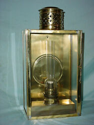 18 Brass Nautical Station Carriage Oil Lamp Sconce Maritime Reflector Glass