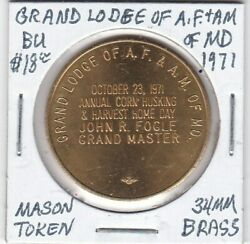 Masonic Token - Grand Lodge Of Af And Am Of Maryland - Bu - 1971 - 34 Mm Brass