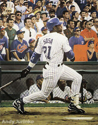 1998 Sammy Sosaand039s 62nd Home Run Lithograph By Artist Andy Jurinko Limited To 620