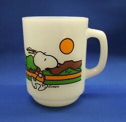 Vintage Anchor Hocking Fire King Snoopy Keeping Fit Is Hard Work Milk Glass Mug