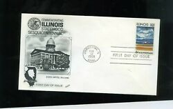 First Day Cover Illinois Statehood 6 Cent Stamp 2/12/1968 Fleetwood Cachet