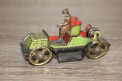Antique Germany Tin Litho Penny Toy Open Touring Car Fischer Meier Fly Wheel
