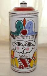 Giovanni Desimone Italy Military Man And Woman Face Flower Canister Signed 10
