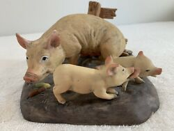 Vintage Enesco Forever Nature Fred Aman Sow Pig And Piglets Ltd Edition Sculpture