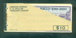 American Express 1969 Us Dollars Unused Travelers Cheques Booklet Of 9x10