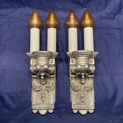Rare Large Nickel Antique Double Wall Sconces Art Neo Classical Victorian 33c