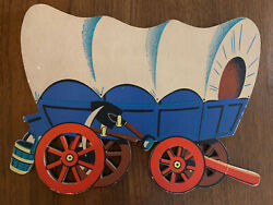 Vtg Dolly Toy Cowboy Indian Pin-ups Piece 245 Bronco Covered Wagon Wall Plaque