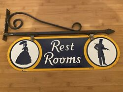 """1930's Double Sided Porcelain Hanging Restroom Sign 21""""x6.5"""