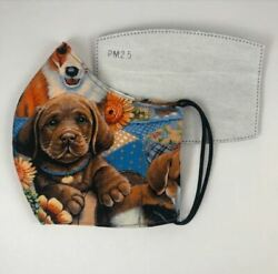 Puppy Dog Face Mask - Blue  Multi - Double Layer with PM 2.5 Carbon Filter $16.99
