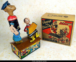 Popeye And Olive Oyl Jiggers On Roof Mechanical Tin Wind-up Toy Louis Marx 1930