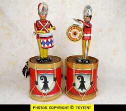 Marx 1930s Drumming Soldier And George The Drummer Boy + Display Stands See Movie