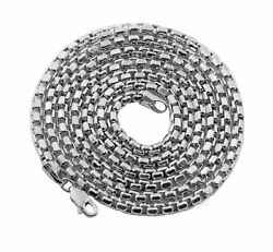 10k White Gold 3.5mm Open Hollow Venetian Box Chain Necklace 18-26 Inches