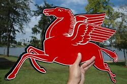 Old Style Mobil Gas Oil 24 Pegasus Horse Diecut Thick Steel Sign Left Usa Made