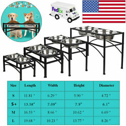 Elevated Raised Pet Dog Feeder Dish Stainless Steel Food Water Stand + 2 Dishes