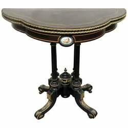Stunning French Bronze Ormolu Ebonized Sevres Plaque Leather Console Card Table