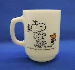 Anchor Hocking Fire King Snoopy At Times Life Is Pure Joy Milk Glass Mug A