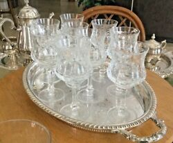 Vintage Heavy Leaded Crystal Etched And Cut Glass Wine/goblets