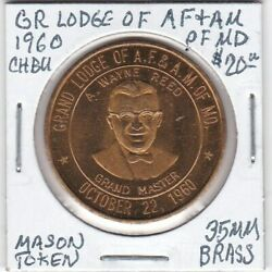Masonic Token - Grand Lodge Of Af And Am Of Maryland - 1960 Ch Bu - 35 Mm Brass