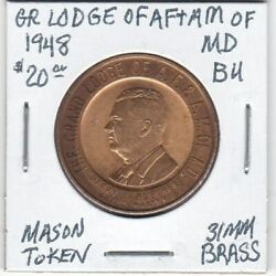 Masonic Token - Grand Lodge Of Af And Am Of Maryland - 1948 Bu - 31 Mm Brass