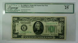 1934 D 20 Twenty Dollar Frn Narrow Star Note Fr. 2058-e Legacy Vf-25
