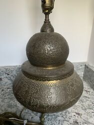 Egyptian Revival Cairoware Antique Incised Brass Lamp With Detailed Designs