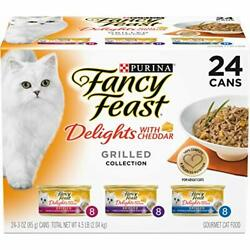 Purina Fancy Feast Gravy Wet Cat Food Variety Pack Delights With Cheddar Gril...