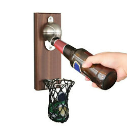 Wall Mount Bottle Basketball Opener With Embedded Magnetic Cap Catcher In Solid