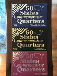 1999 Us Mint 50 States Commemorative Quarters Set Of 3 Different Editions
