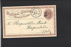 Cumberland Maryland Government Postal Card1876 Advt Queen City Savings Bank.