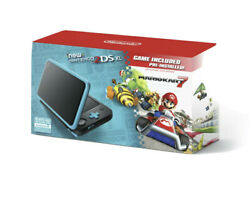 New Nintendo 2ds Xl - Black+turquoise With Mario Kart 7 Pre-installed Brand New
