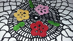 Lot Of 8 Vintage Embroidered/crochet Doilies Table Top Linens Multi Colored