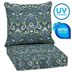 Outdoor Patio Deep Chair Cushions Set Garden Furniture 2 Pads Water Uv Resistant