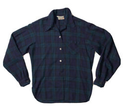 Preowned- Vintage Gerhard Kennedy Wool Button Front Plaid Blouse Womens Size 6