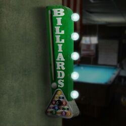 Billiards Pool Cue Hall Sign Double Sided Marquee Display LED Lights Man Cave
