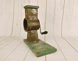 Rare Vintage Tin Old Meat Food Grinder Table Mount Crank Chopper Collectible 03