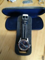 Absolute Vodka Country Of Sweden Limited Edition Blue Leather Watch Silver Case