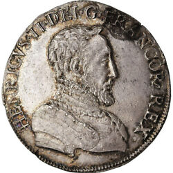 [489530] Coin France Henri Ii Teston 1554 Poitiers Au55-58 Silver