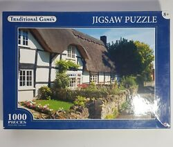 Traditional Games 1000 Piece Jigsaw Puzzle 02m1, White Thatched Cottage And Garden