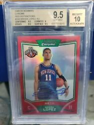 2008 Bowman Chrome Refractor Red Brook Lopez Auto Bgs 10 Out Of 5