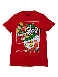 Super Mario Mens Red Bowser Clown Copter Graphic Tee Short Sleeve T-shirt