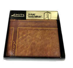 Amity Mens Brown Leather Tri Fold Billfold Wallet $9.49