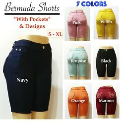 Women's Casual Pull-On Solid Color Bermuda Shorts with Pockets & Stone Design $11.99